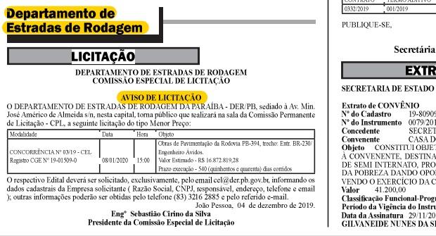 lici - Diário Oficial do Estado publica edital de licitação para pavimentação da estrada do distrito de Engenheiro Avidos; confira